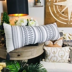 Hearth and hand embroidered lumbar pillow new